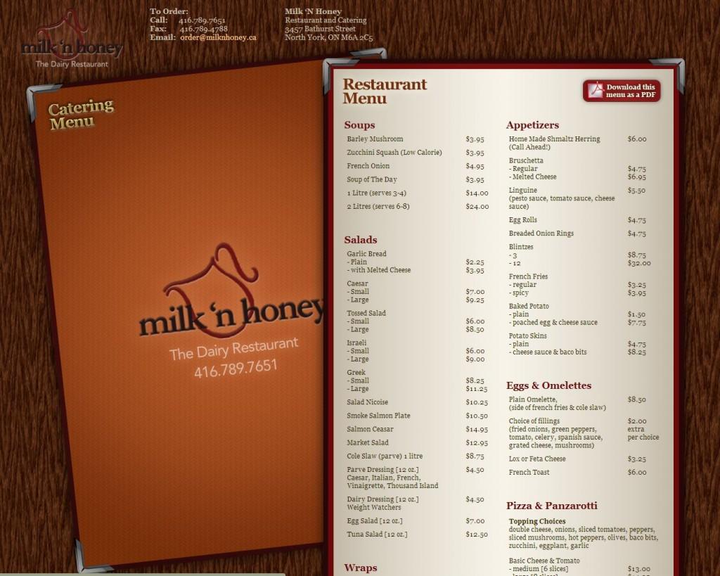 Milk n Honey single page website