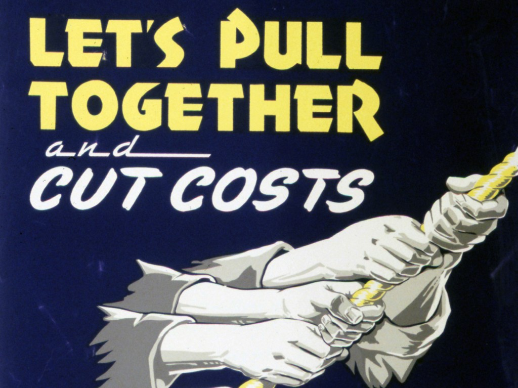hands pulling together to cut costs