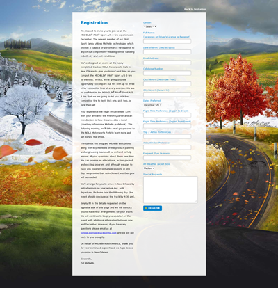 event registration microsite