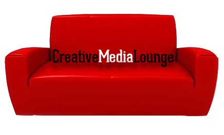 Red couch in the creative media lounge