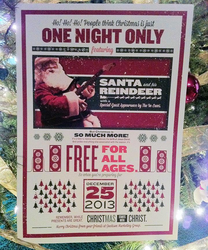 Santa and His Reindeer - Jackson Marketing Group Christmas card