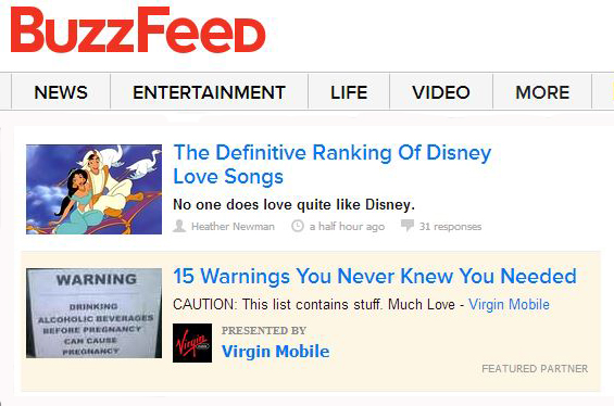 buzzfeed native ads and editorial content